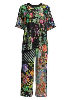 Johnny Was Jailyn Oversized 2-Piece Floral Silk Pajama Set