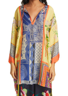 Johnny Was Arden Mixed Print Silk Tunic Top