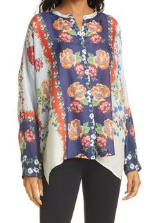 Johnny Was Kallipoe Floral Print Silk Blouse