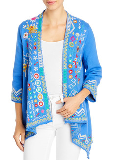 Johnny Was Prisca Embroidered Draped Open Cardigan