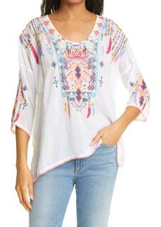 Johnny Was Rangoon Embroidered Peasant Blouse