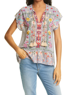 Johnny Was Talon Embroidered Split Neck Top