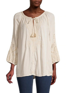Johnny Was Lace Cotton-Blend Top
