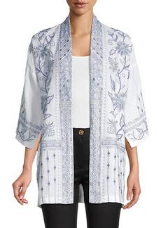 Johnny Was Maike Embroidery Linen Kimono Jacket