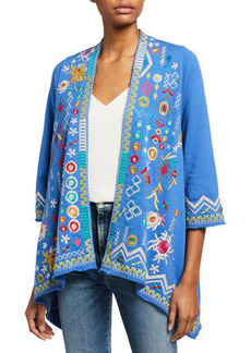 Johnny Was Prisca Draped French Terry Cardigan