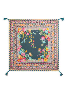 Johnny Was Sonoma Floral Tassel Silk Square Scarf