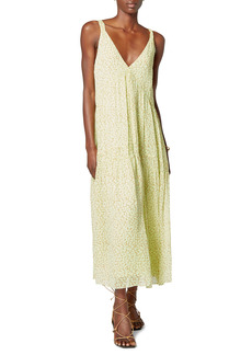 Joie Bondi Woodcut Floral Print Silk Maxi Dress