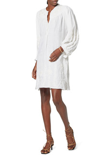 Joie Farida Embroidered Long Sleeve Linen Shift Dress