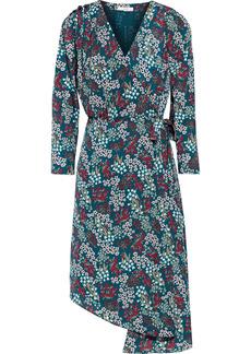 Joie Woman Acantha Asymmetric Floral-print Crepe De Chine Wrap Dress Petrol