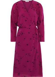 Joie Woman Acantha B Floral-print Crepe De Chine Wrap Dress Violet
