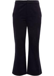 Joie Woman Duke Stretch Cotton And Modal-blend Velvet Kick-flare Pants Midnight Blue