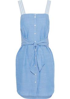 Joie Woman Galilee Tie-front Pinstriped Cotton-chambray Mini Dress Light Blue