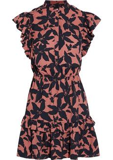 Joie Woman Krystina Ruffled Printed Crepe De Chine Mini Dress Tan