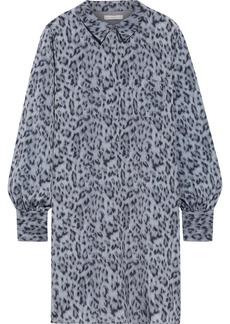 Joie Woman Leopard-print Crepe De Chine Mini Shirt Dress Animal Print