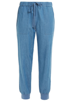 Joie Woman Mellina Cropped Cotton-chambray Tapered Pants Mid Denim
