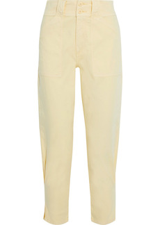 Joie Woman Mirenda Cropped Cotton-blend Tapered Pants Pastel Yellow