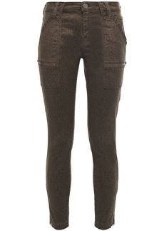 Joie Woman Park Cropped Leopard-print Cotton-blend Twill Skinny Pants Army Green
