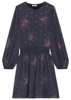 Joie Woman Ramla Shirred Printed Crepe De Chine Mini Dress Black