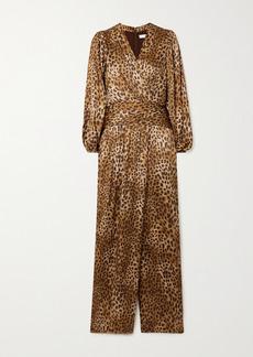 Jonathan Simkhai Carter Wrap-effect Leopard-print Silk-blend Charmeuse Jumpsuit