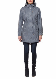 Jones New York Women's Hooded Trench Coat Rain Jacket with Matching Face Mask  XL