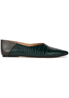 Joseph Woman Anoud Croc-effect Leather Collapsible-heel Point-toe Flats Dark Green