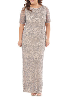 JS Collections JS Collection Beaded Column Gown (Plus Size)