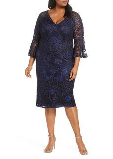 JS Collections Bell Sleeve Mesh Shift Dress (Plus Size)