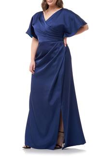 JS Collections Faux Wrap Satin A-Line Gown (Plus Size)