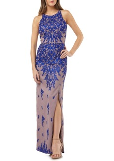 JS Collections Floral Embroidered Mesh Evening Dress