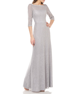 JS Collections Metallic Lace A-Line Gown
