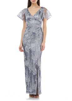 JS Collections Ruched Metallic Lace Gown