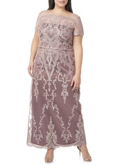 JS Collections Scallop Embroidered Blouson Evening Dress (Plus Size)