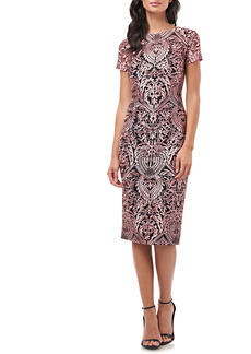 JS Collections Soutache Embroidery Sheath Cocktail Dress