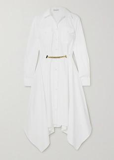 JW Anderson Asymmetric Chain-embellished Cotton-poplin Shirt Dress