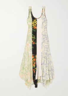 JW Anderson Asymmetric Patchwork Floral-print Georgette Maxi Dress