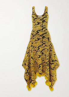 JW Anderson Asymmetric Pompom-embellished Metallic Floral-jacquard Dress