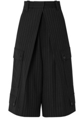 Jw Anderson Woman Pleated Pinstriped Wool-blend Flannel Culottes Black