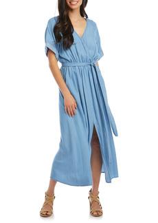 Karen Kane Cuff Sleeve Chambray Faux Wrap Dress