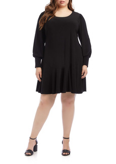 Karen Kane Dakota Blouson Long Sleeve Dress (Plus Size)