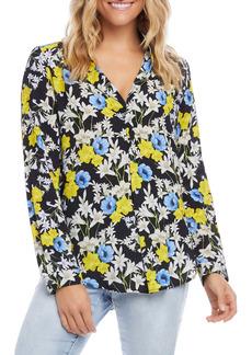 Karen Kane Floral Print Half Placket Shirt