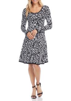 Karen Kane Jacquard Long Sleeve Fit & Flare Dress