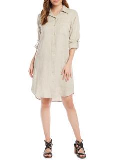 Karen Kane Long Sleeve Linen Shirtdress