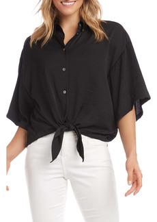 Karen Kane Relaxed Tie Front Button-Up Shirt