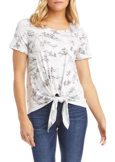 Karen Kane Safari Print Tie Front Top