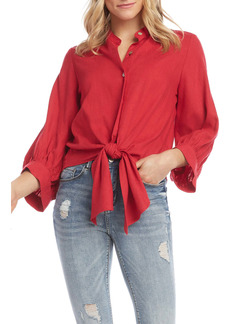 Karen Kane Tie Front Button-Up Shirt