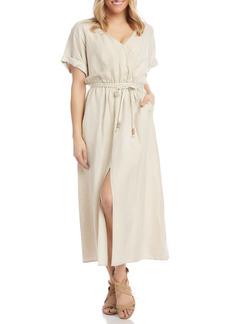 Women's Karen Kane Cuff Sleeve Linen Blend Faux Wrap Dress