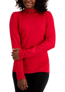Karen Scott Studded Mock-Neck Sweater, Created for Macy's