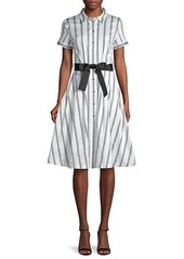 Karl Lagerfeld Belted & Striped A-Line Shirtdress