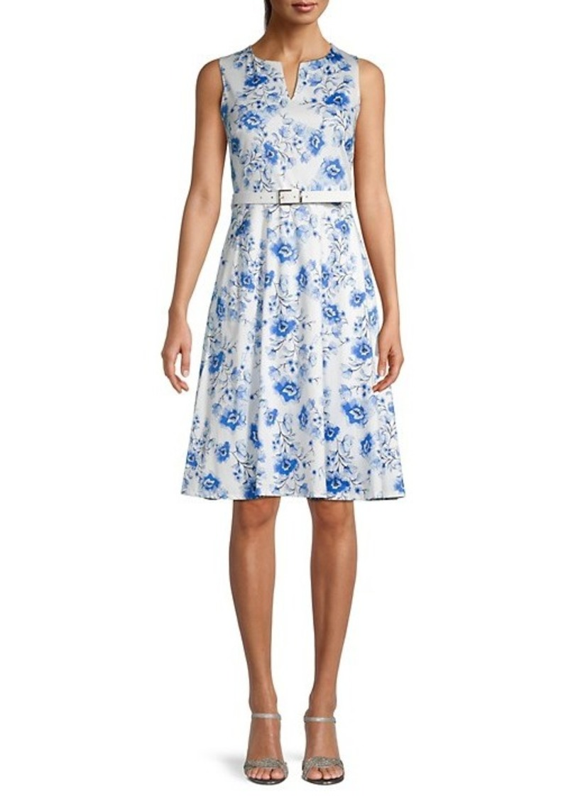 Karl Lagerfeld Belted Floral Flare Dress