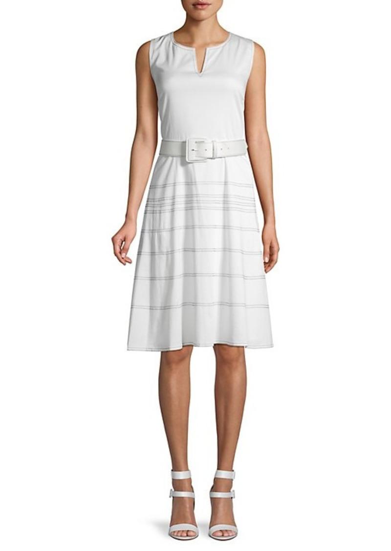 Karl Lagerfeld Belted Sateen Dress